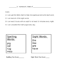6 weeks of cvc words and sight words homework and weekly assessments