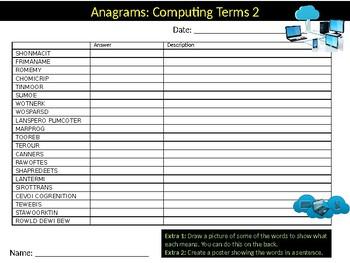 6 x Computing Key Terms #2 Starter Activities ICT Keywords Computer Science