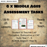 6 x Middle Ages Assessment Tasks over 25 lessons - Medieval Europe