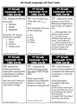 4th Grade Language Arts Task Cards, Review All Standards! 60 Cards in All!