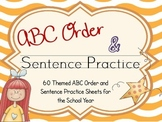 60 ABC Order Cut and Paste with Sentence Practice Sheets