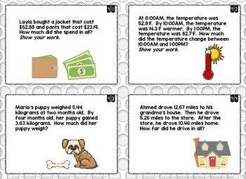 60 Adding Decimals Task Cards FSA Style Questions Ink Saver Version Winter Theme