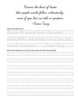 60 Advanced Cursive Practice Pages with Leadership Quotes