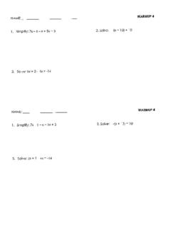 60 Algebra 1 warm ups over first semester TEKS