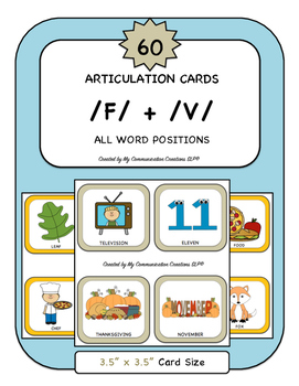 60 Articulation Cards for Speech Therapy /F/ + /V/ All Word Positions