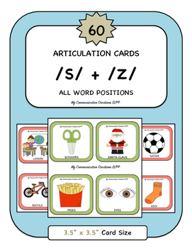 60 Articulation Cards for Speech Therapy /S/ + /Z/ All Word Positions