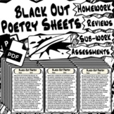60 Black Out Poetry Worksheets - PowerPoint Instructions Included!
