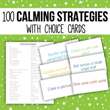 60 Calming Strategies with Choice Cards