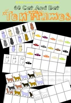 (free for limited time) 60 Cat & Bat Ten Frames Bundle