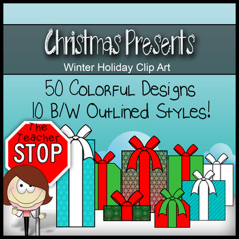 Christmas Gifts & Presents - 60 Holiday Clipart Images {The Teacher Stop}