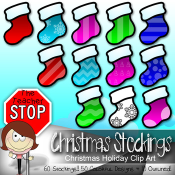 Stockings - 60 Christmas Holiday Clipart Images {The Teacher Stop}