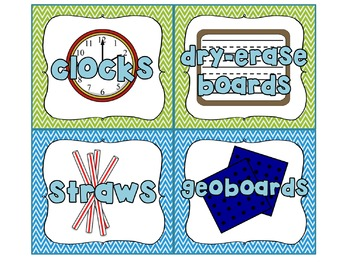 60 Classroom Labels (with clip art!) with Blue and Green Chevron