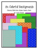 84 Colorful Backgrounds - Chevron, Polka Dots, Stars, Stri