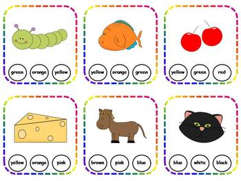 60 Colors & Color Words Clothespin Task Cards