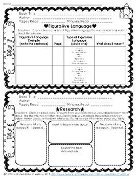 Summer Reading Log Response Packet, 60 days Fiction & Nonfiction Text Grades 3-6
