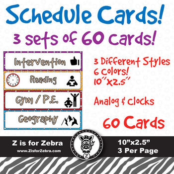 60 Different Class Schedule Cards!