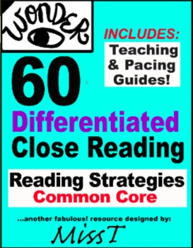 60 Differentiated CLOSE READING to use with Wonder by R.J. Palacio
