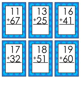 60 Double Digit Addition Flashcards Without Regrouping