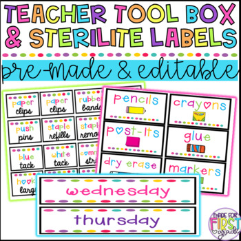 EDITABLE Teacher Toolbox and Sterilite Drawer Labels (70 Included)