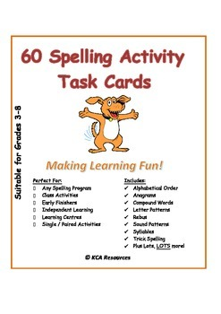 60 FUNTastic Unique Spelling Activity Task Cards for ANY list or program