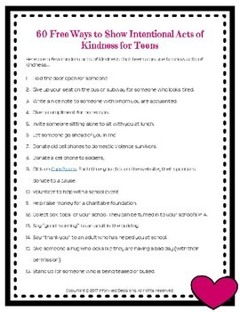 60 Free Ways for Teens and Young Adults to Show Intentional Acts of Kindness