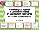 60 Geometry 2D Figures & Coordinate Planes Task Cards 5th Grade FSA