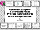 60 Geometry 2D Figures & Coordinate Planes Task Cards 5th Grade INK SAVER FSA