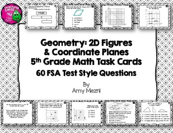 60 Geometry 2D Figures & Coordinate Planes Task Cards 5th