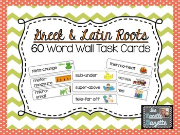 60 Greek & Latin Roots Word Wall Cards, Root Examples, & Matching Activity