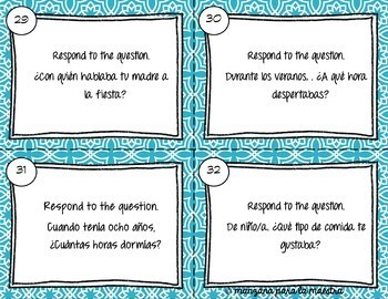 Spanish Imperfect Task Cards El imperfecto