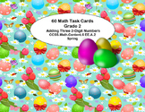 60 Math Task Cards 2nd Grade Adding 3 Two-digit Numbers Easter Egg Theme