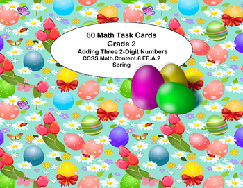 60 Math Task Cards 2nd Grade Adding 3 Two-digit Numbers Ea