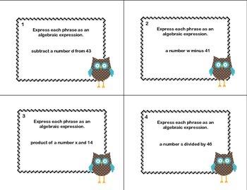 60 Math Task Cards- Algebra- Writing Expressions- Grade 6