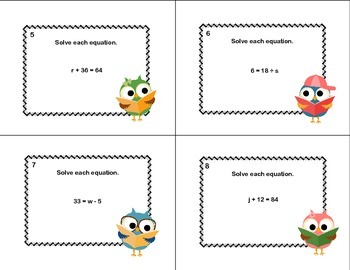 60 Math Task Cards- Solving  Equations Using All 4 Operations Grade 6- Owls
