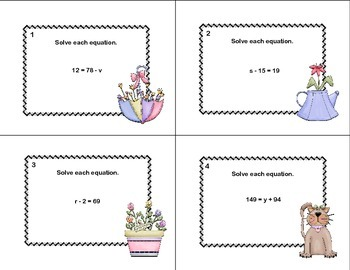 60 Math Task Cards- Solving  Equations Using All 4 Operations Grade 6- Spring