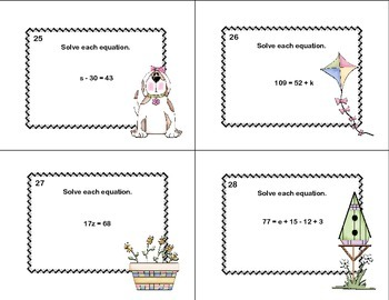 Solving  Equations Using All 4 Operations Grade 6- Spring-60 Math Task Cards