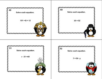 60 Math Task Cards- Grade 6-Solving  Equations Using All Four Operations