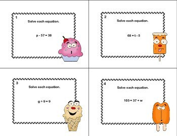 60 Math Task Cards- Solving  Equations Using All Four Operations Grade 6