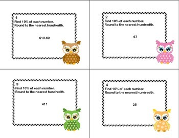 60 Math Task Cards- Grade 6-Percent and Rounding-CCSS.6.RP.A.3.C