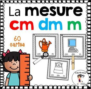 60 Measurement Task Cards / 60 cartes à tâches - La mesure - cm  dm  m