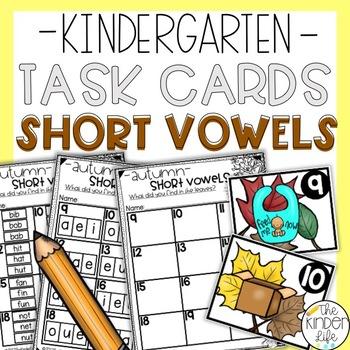 Kindergarten Fall Leaves Task Cards CVC Words