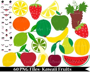 60 PNG Files- Kawaii Fruits- Digital Clip Art- 300 dpi 089