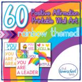 60 Positive Affirmations for Kids Rainbow Classroom Decor