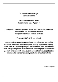 60 Primary Level General Knowledge Quiz Questions (Australia)