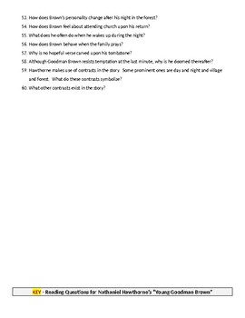 """60 Reading Questions for Hawthorne's """"Young Goodman Brown"""" with KEY"""