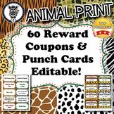 60 Reward Coupons & Punch Cards - Animal Print - ZisforZebra - Editable!