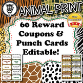 60 Reward Coupons & Punch Cards - Animal Print - ZisforZeb