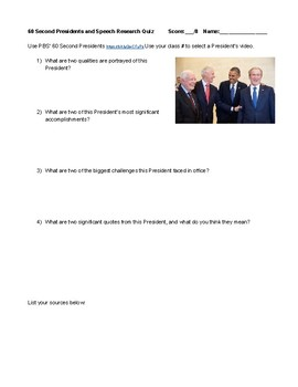 60 Second Presidents PBS Videos and Webquest Research Quiz