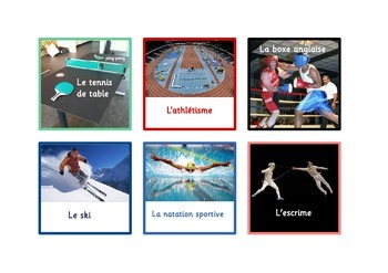 60  Sports Flashcards in French.