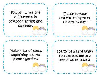 60 Spring Writing Prompts and Story Starter Task Cards